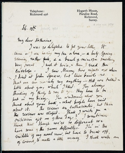 Letter from Virginia Woolf to Katherine Mansfield (Feb, 1921)