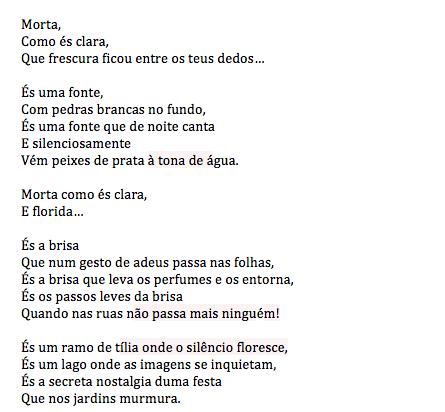 Portuguese text of Sofia de Mello's 'Morta'