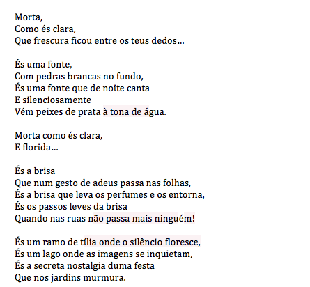 Portuguese text of Sofia de Mello's 'Morta'