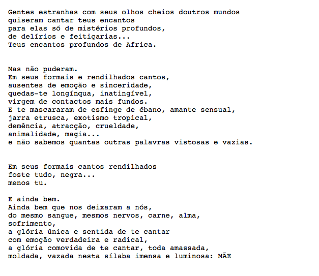 Portuguese text of Noemia de Sousa's poem, 'Negra'